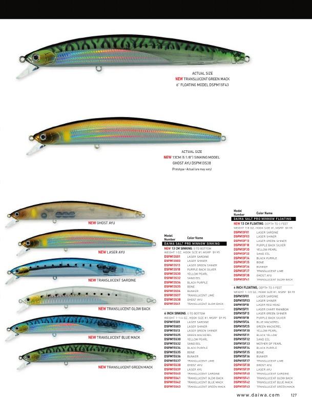 """Daiwa Salt Pro Minnow Sinking Model 5 1//8/"""" DSPM13S32 Sand EEL"""