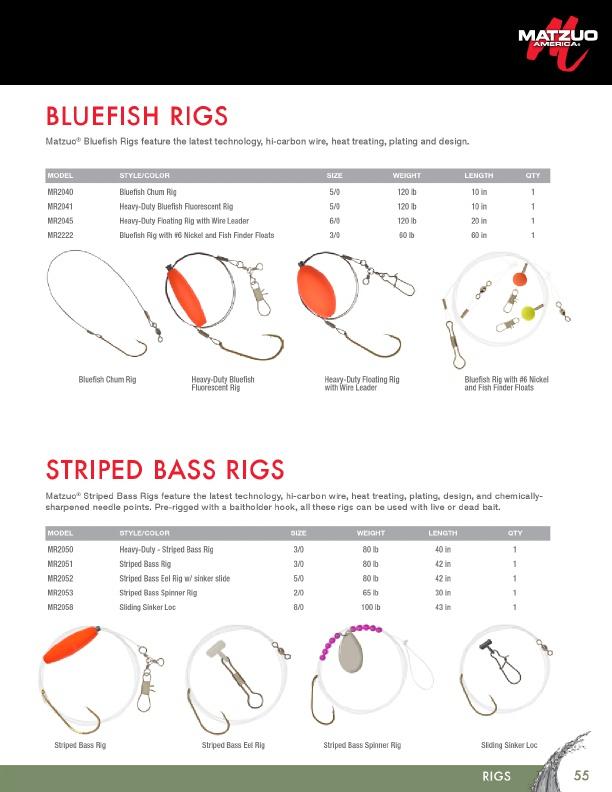 MR2050 Matzuo rayé Heavy Duty Bass Rigs-fluorescent rouge