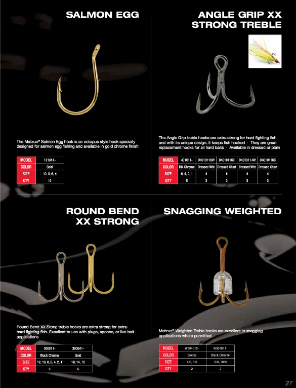 MATZUO WEIGHTED TREBLE HOOKS SIZE 4//0 BRONZE #W304015-4//0 5