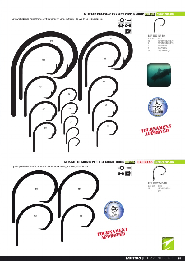 10 Mustad 39932XNP-BN Ultra Point Size 9//0 4X Barbless Demon Circle Hooks