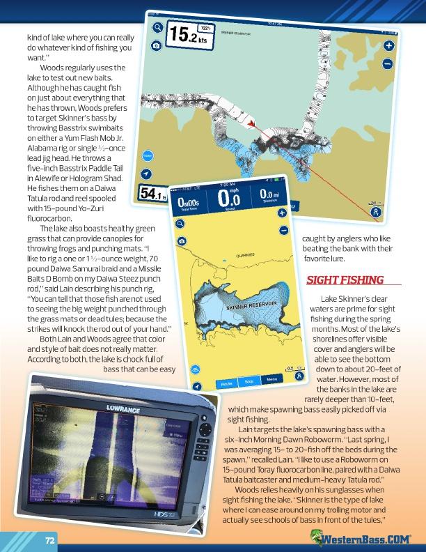Westernbass free magazine spring bass fishing tips 2017 for Lake skinner fishing report