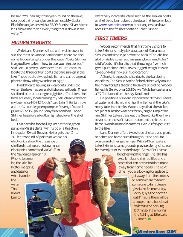 Westernbass free magazine spring bass fishing tips 2017 for Lake skinner fish report